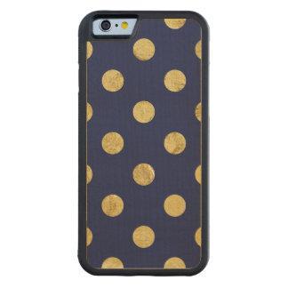 Capa De Madeira De Bordo Bumper Para iPhone 6 Teste padrão de bolinhas elegante da folha de ouro