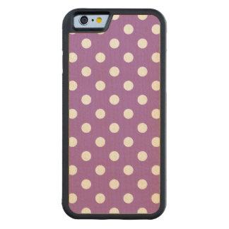 Capa De Madeira De Bordo Bumper Para iPhone 6 Teste padrão de bolinhas roxo e branco