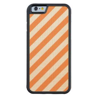Capa De Madeira De Bordo Bumper Para iPhone 6 Teste padrão diagonal alaranjado e branco das