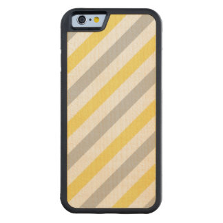 Capa De Madeira De Bordo Bumper Para iPhone 6 Teste padrão diagonal cinzento e amarelo das