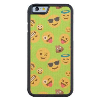 Capa De Madeira De Bordo Bumper Para iPhone 6 Teste padrão engraçado de Emoji (verde)