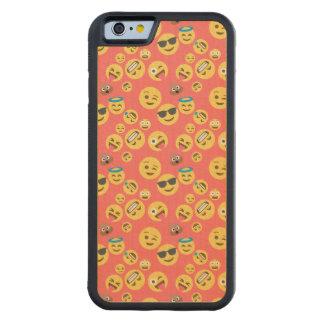 Capa De Madeira De Bordo Bumper Para iPhone 6 Teste padrão vermelho parvo de Emoji