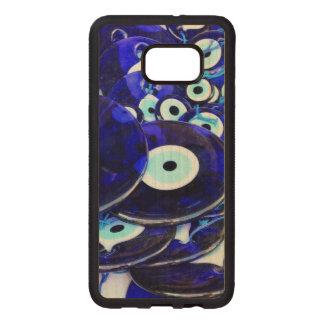 Capa De Madeira Para Samsung Galaxy S76 Edge Amuletos azuis do olho mau