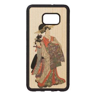 Capa De Madeira Para Samsung Galaxy S76 Edge Mulher no quimono colorido (impressão do japonês
