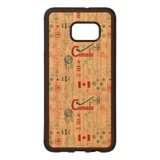 Capa De Madeira Para Samsung Galaxy S76 Edge Teste padrão dos símbolos de Canadá |