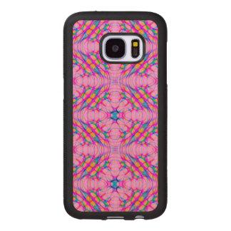 Capa De Madeira Para Samsung Galaxy S7 Abstrato do teste padrão do caleidoscópio do rosa