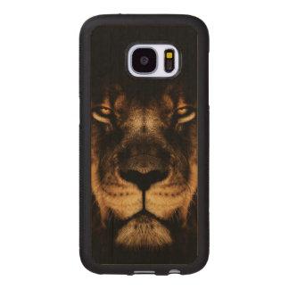 Capa De Madeira Para Samsung Galaxy S7 Arte africana da cara do leão