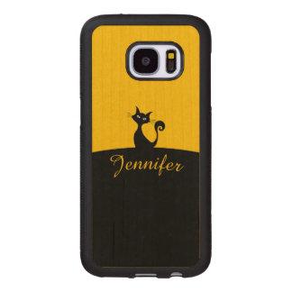 Capa De Madeira Para Samsung Galaxy S7 Arte mínima do gato preto, seu nome