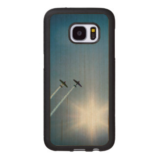 Capa De Madeira Para Samsung Galaxy S7 Aviões que voam no céu azul com Sun.