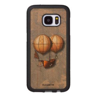Capa De Madeira Para Samsung Galaxy S7 Balão de ar retro de Steampunk do vintage com
