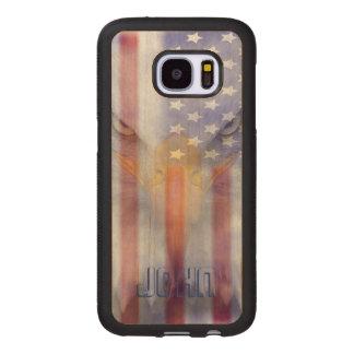 Capa De Madeira Para Samsung Galaxy S7 Bandeira Eagle desvanecido | | Pesonalized