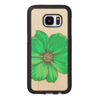 Capa De Madeira Para Samsung Galaxy S7 Design artístico da flor
