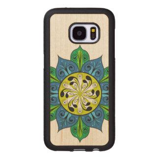 Capa De Madeira Para Samsung Galaxy S7 Design floral abstrato artístico