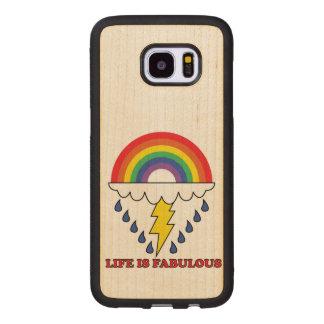 Capa De Madeira Para Samsung Galaxy S7 Edge A vida é fabulosa