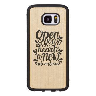 Capa De Madeira Para Samsung Galaxy S7 Edge Abra seu coração às aventuras novas