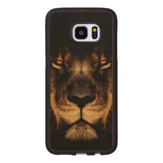 Capa De Madeira Para Samsung Galaxy S7 Edge Arte africana da cara do leão