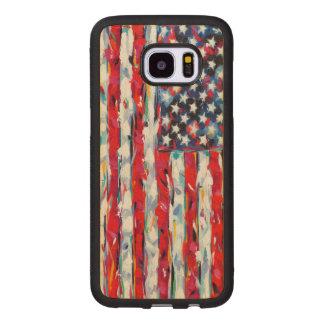 Capa De Madeira Para Samsung Galaxy S7 Edge Bandeira americana