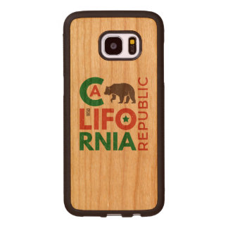 Capa De Madeira Para Samsung Galaxy S7 Edge Califórnia com logotipo do urso de urso