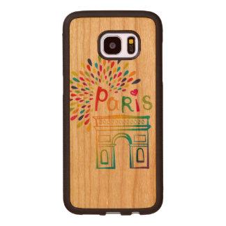 Capa De Madeira Para Samsung Galaxy S7 Edge Design de néon de Paris France | Arco do Triunfo |