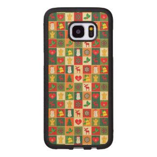 Capa De Madeira Para Samsung Galaxy S7 Edge Grande teste padrão do Natal