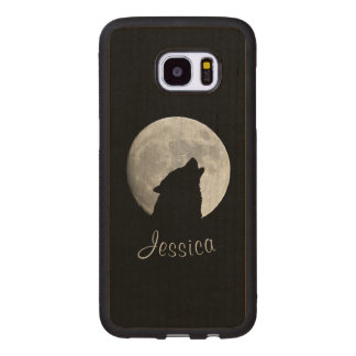 Capa De Madeira Para Samsung Galaxy S7 Edge Lobo que urra na Lua cheia, seu nome