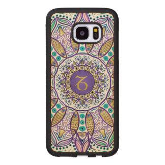 Capa De Madeira Para Samsung Galaxy S7 Edge Mandala do Capricórnio do sinal do zodíaco do