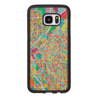 Capa De Madeira Para Samsung Galaxy S7 Edge Mapa colorido de Denver