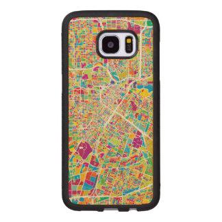 Capa De Madeira Para Samsung Galaxy S7 Edge Mapa de néon de Houston, Texas  