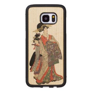 Capa De Madeira Para Samsung Galaxy S7 Edge Mulher no quimono colorido (impressão do japonês