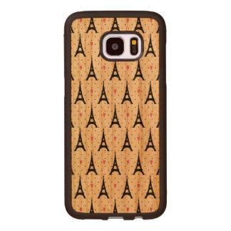 Capa De Madeira Para Samsung Galaxy S7 Edge Teste padrão das bolinhas & dos corações da torre