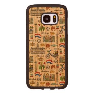 Capa De Madeira Para Samsung Galaxy S7 Edge Teste padrão do Doodle de Netherland