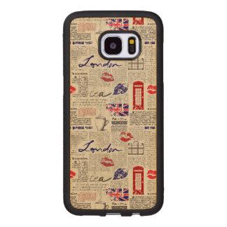 Capa De Madeira Para Samsung Galaxy S7 Edge Teste padrão do jornal de Londres