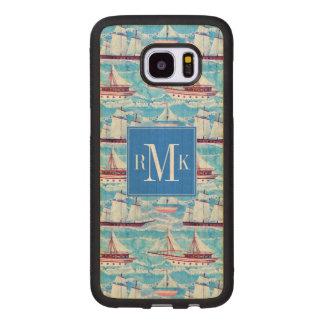 Capa De Madeira Para Samsung Galaxy S7 Edge Teste padrão dos navios de navigação da aguarela