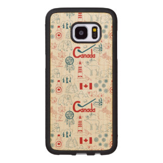 Capa De Madeira Para Samsung Galaxy S7 Edge Teste padrão dos símbolos de Canadá |