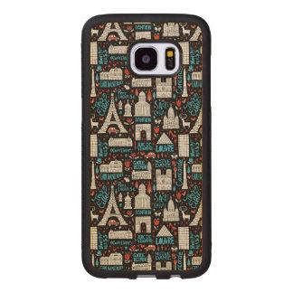 Capa De Madeira Para Samsung Galaxy S7 Edge Teste padrão dos símbolos de France |