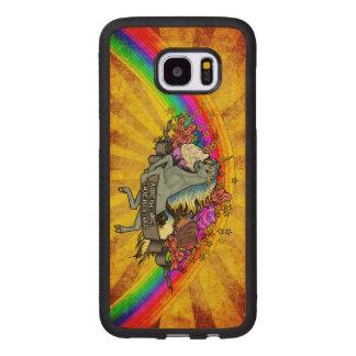 Capa De Madeira Para Samsung Galaxy S7 Edge Unicórnio da sobrecarga, arco-íris & bordo