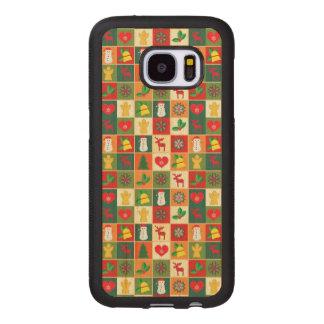 Capa De Madeira Para Samsung Galaxy S7 Grande teste padrão do Natal
