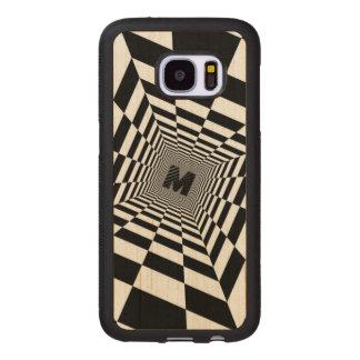 Capa De Madeira Para Samsung Galaxy S7 Ilusão, monograma ou inicial visual preta & branca