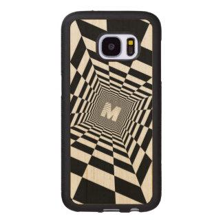 Capa De Madeira Para Samsung Galaxy S7 Ilusão óptica preta & branca, monograma branco