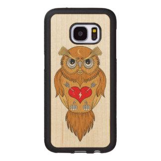 Capa De Madeira Para Samsung Galaxy S7 Ilustração colorida da coruja