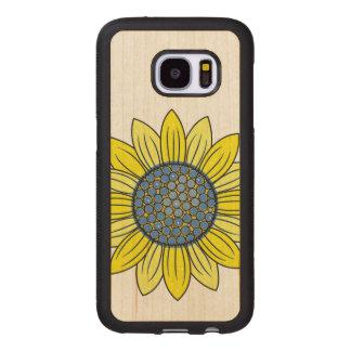 Capa De Madeira Para Samsung Galaxy S7 Ilustração do girassol