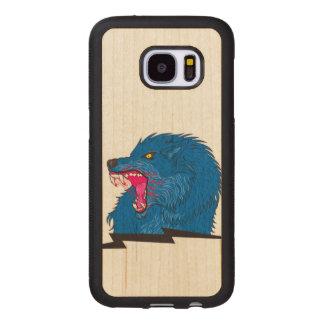 Capa De Madeira Para Samsung Galaxy S7 Ilustração irritada do lobo