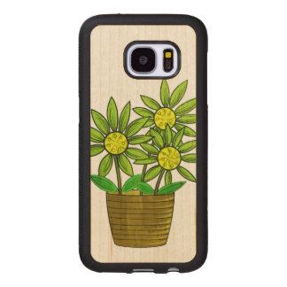 Capa De Madeira Para Samsung Galaxy S7 Ilustração Potted dos girassóis