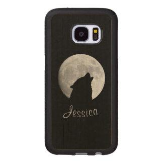 Capa De Madeira Para Samsung Galaxy S7 Lobo que urra na Lua cheia, seu nome