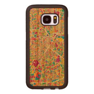 Capa De Madeira Para Samsung Galaxy S7 Mapa de néon de Houston, Texas  