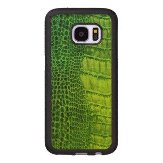 Capa De Madeira Para Samsung Galaxy S7 Monstro de mar no couro verde-claro do falso