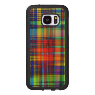 Capa De Madeira Para Samsung Galaxy S7 O abstrato colorido listra a arte