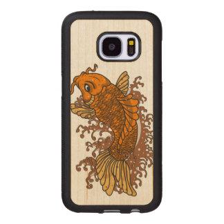 Capa De Madeira Para Samsung Galaxy S7 Peixe dourado colorido Koi