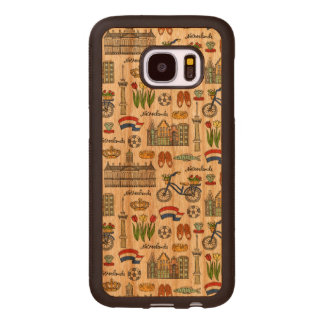 Capa De Madeira Para Samsung Galaxy S7 Teste padrão do Doodle de Netherland