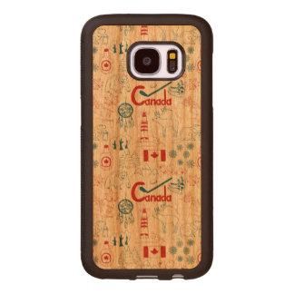 Capa De Madeira Para Samsung Galaxy S7 Teste padrão dos símbolos de Canadá |